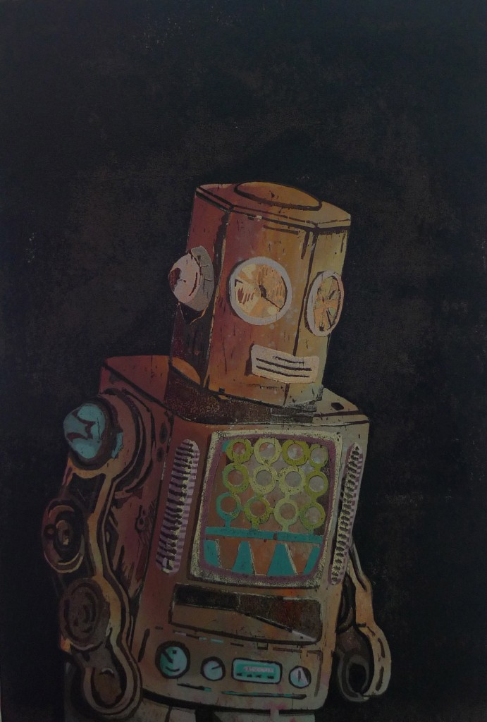 Robot VI, 36x22cm, unique woodcut, 2012